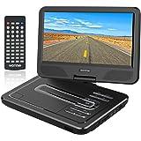 """WONNIE 10.5"""" Tragbarer DVD-Player, Schwenkbaren Bildschirm, HD Display 4-5 Stunden Akku, USB/SD Slot, Perfekte Geschenke für Kinder (Schwarz)"""