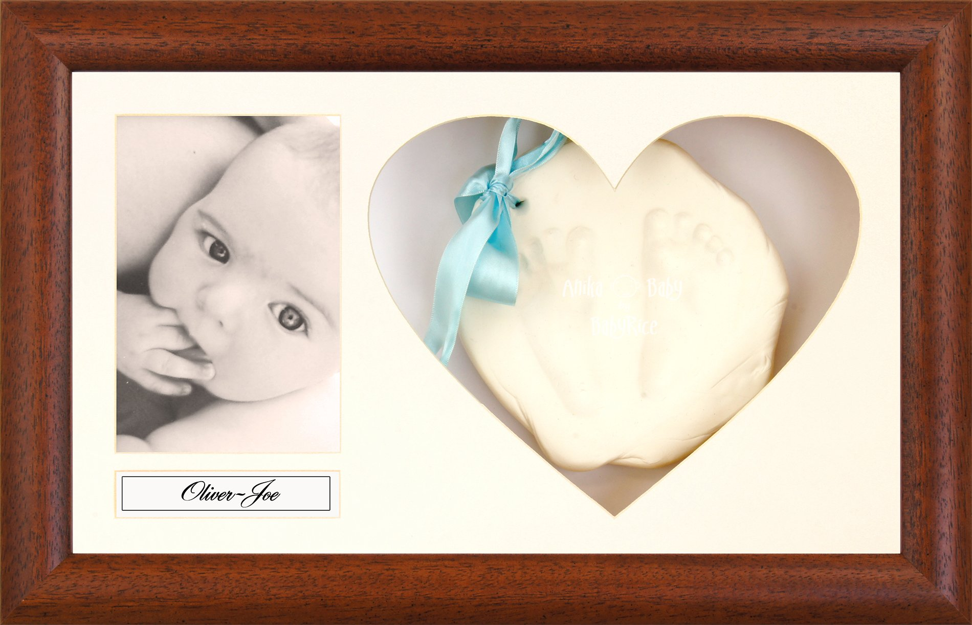 BabyRice Baby Soft Imprint Clay Hand & Footprint Kit / Dark Wood Effect Display Frame with Heart Mount - Choose Clay color (White)