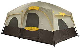 This cabin-style camping tent photo shows the Browning Bighorn 8-person Cabin Tent.
