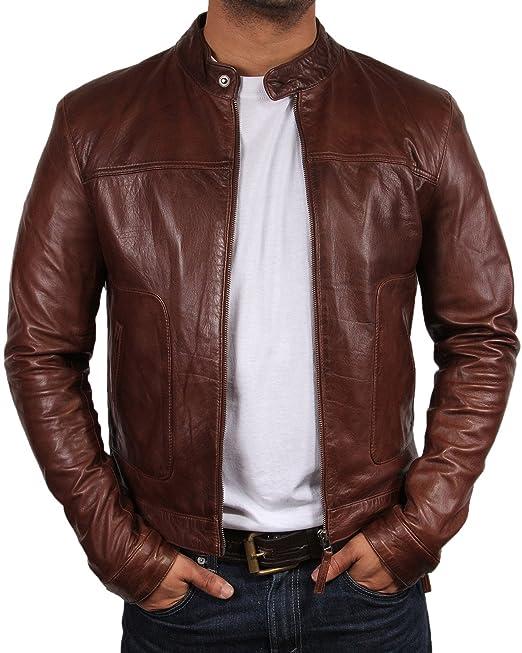 609bcf392e6 BRANDSLOCK Mens Genuine Leather Biker Jacket Bomber Vintage Distressed Brown