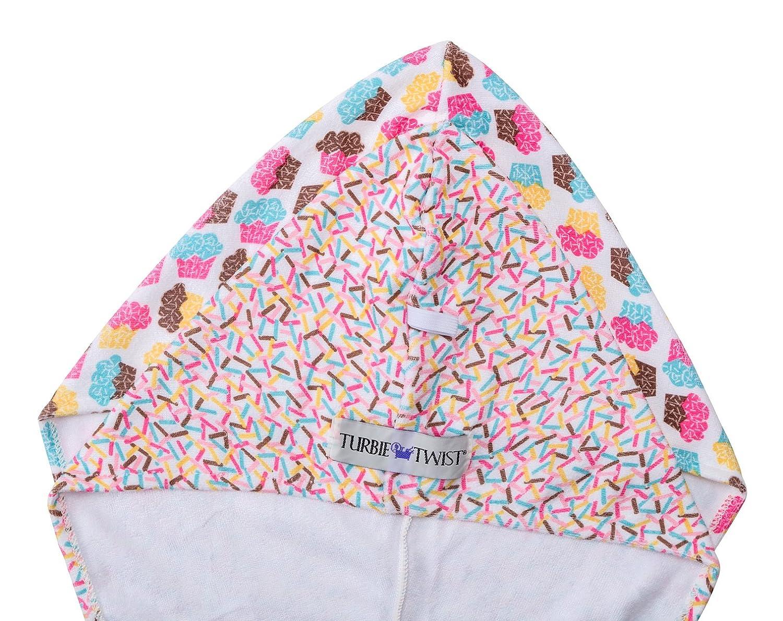 Turbie Twist Microfiber Super Absorbent Hair Towel Cupcakes 2 Pack Sprinkles