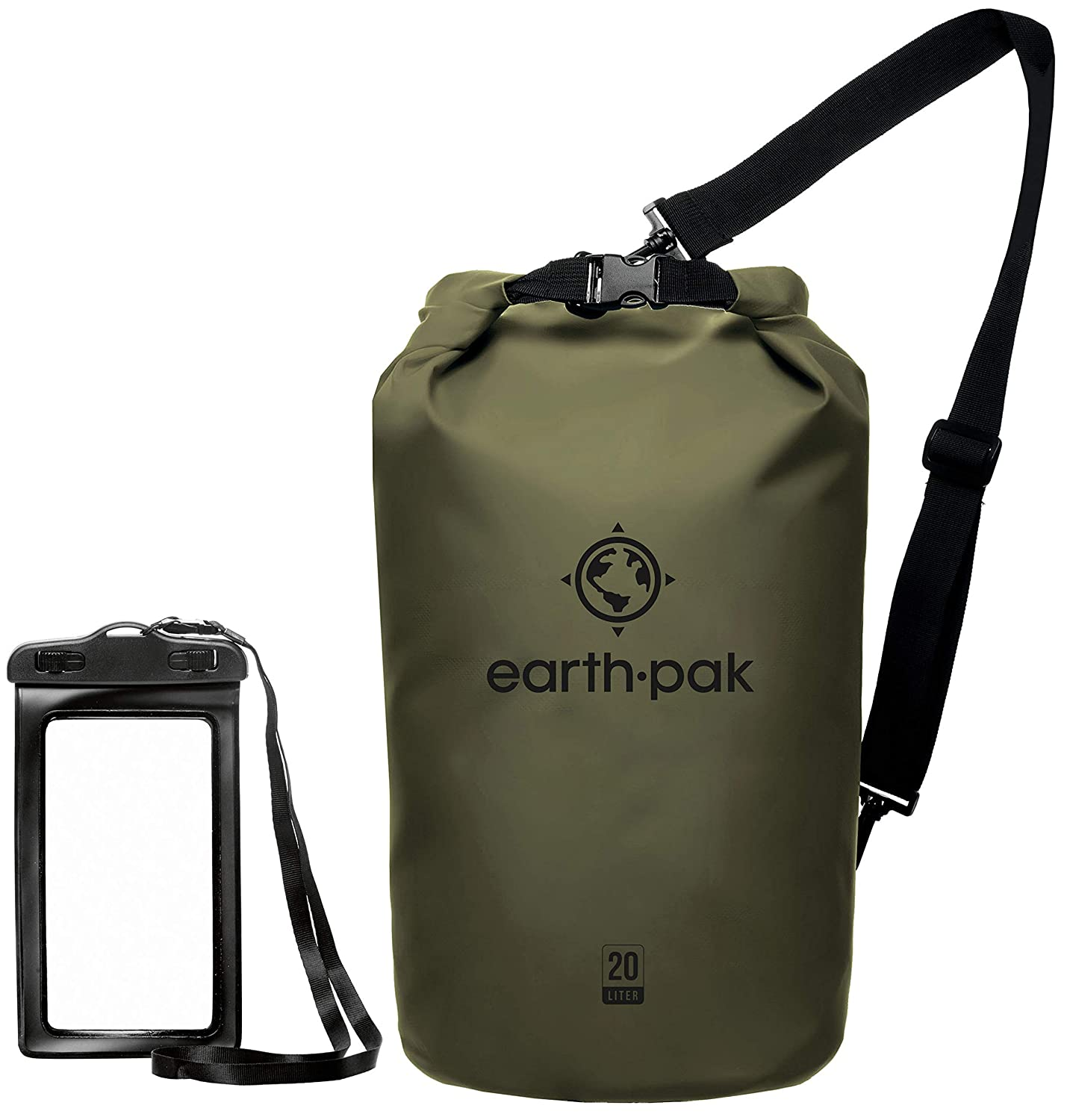 Forest Green 20L Earth Pak Waterproof Dry Bag  Roll Top Dry Compression Sack Keeps Gear Dry for Kayaking, Beach, Rafting, Boating, Hiking, Camping and Fishing with Waterproof Phone Case