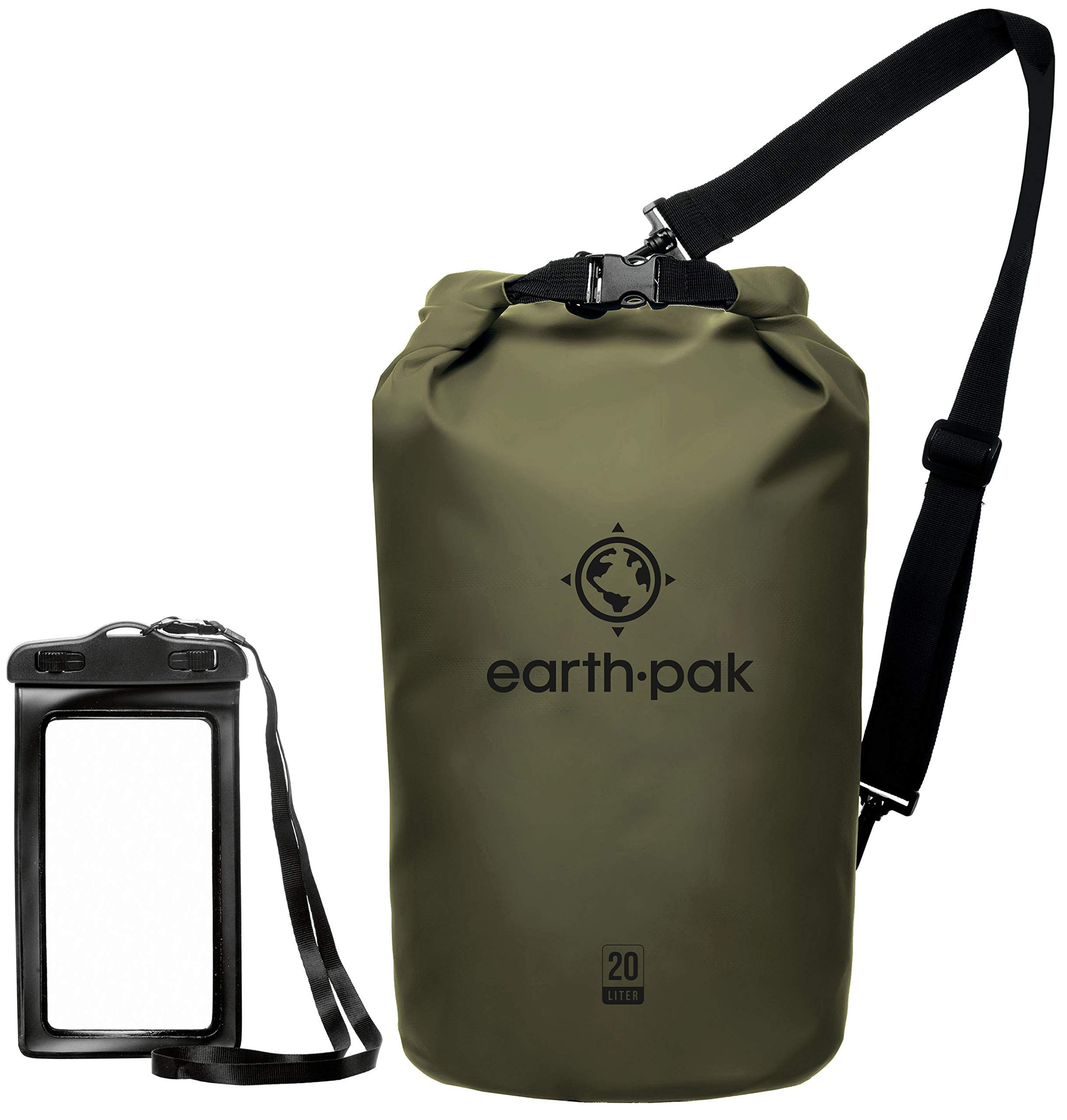 Earth Pak -Waterproof Dry Bag - Roll Top Dry Compression Sack Keeps Gear Dry for Kayaking, Beach, Rafting, Boating, Hiking, Camping and Fishing with Waterproof Phone Case by Earth Pak