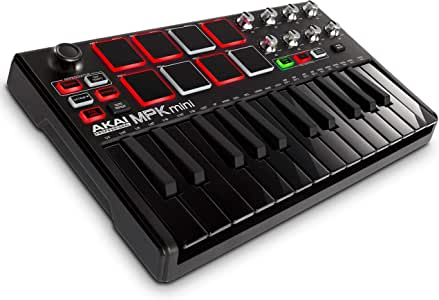 Akai Professional MPK Mini MKII | 25-Key Portable USB MIDI Keyboard With 16 Backlit Performance-Ready Pads, 8-Assignable Q-Link Knobs & A 4-Way Thumbstick Black Black