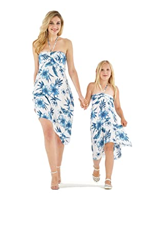 89a63146aff1 Matching Hawaiian Luau Mother Daughter Halter Dress in Day Dream Bloom S-2