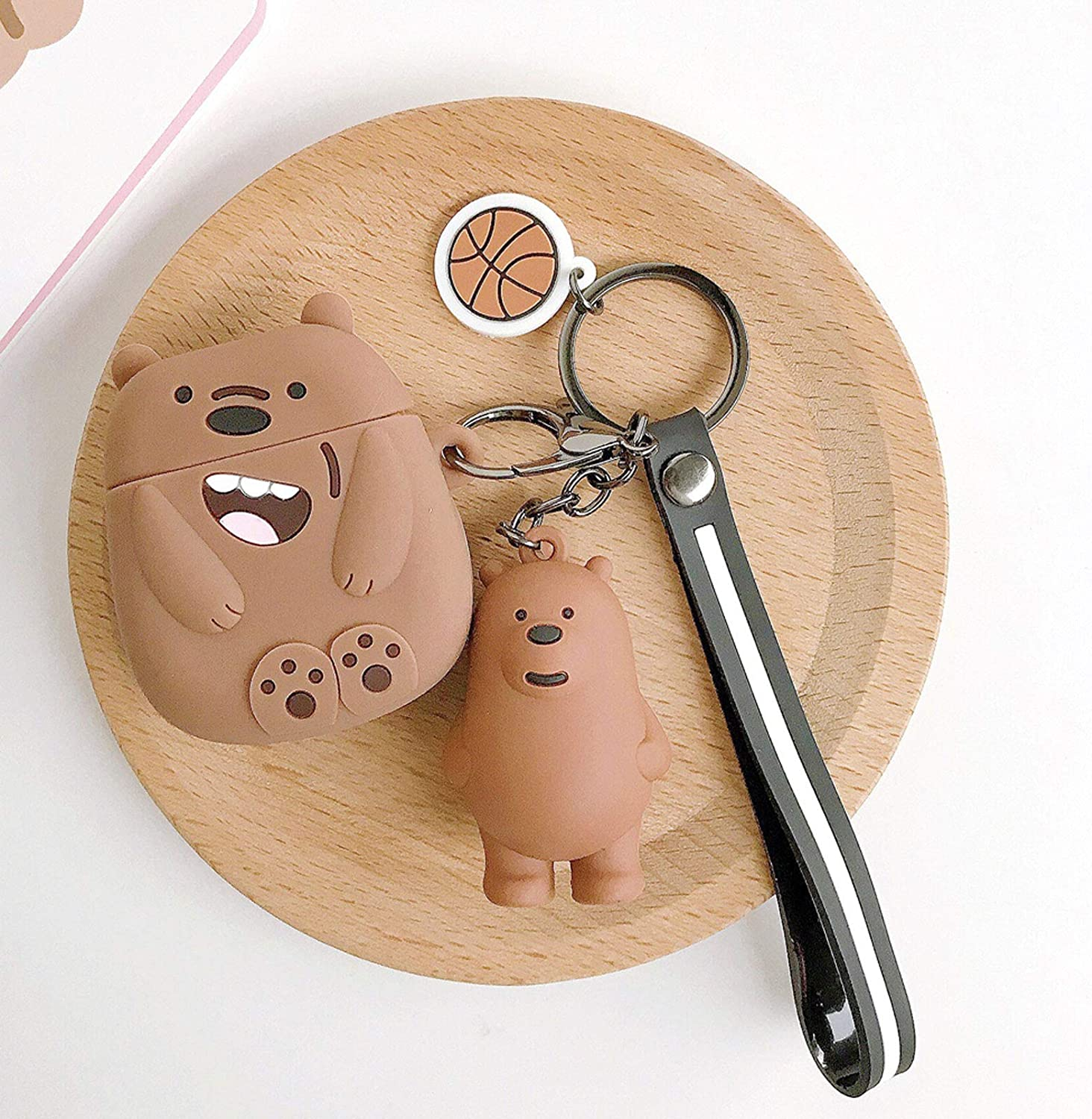 Airpods Cover Compatible with Airpods Pro Cute Character Happy Bear Case Cute Soft Silicone Shockproof Durable Stylish Earphone Protective Skin with Animals Decoration Hang Rope (Brown Bear)