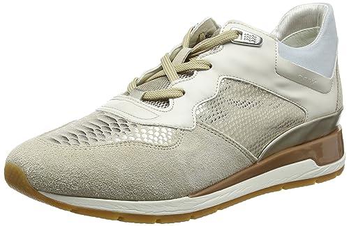 Womens D Shahira B Low-Top Sneakers, Platin/Weiss Geox