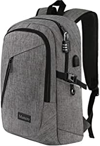 "Laptop Backpack, Business Travel Water Resistant Backpacks Gift for Men Women, Anti Theft College School Bookbag, Mancro Computer Bag with USB Charging Port Lock Fits 15.6"" Laptop and Notebook (Grey)"