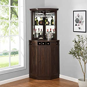 Corner Bar Unit with Built-in Wine Rack and Lower Cabinet (Mahogany)