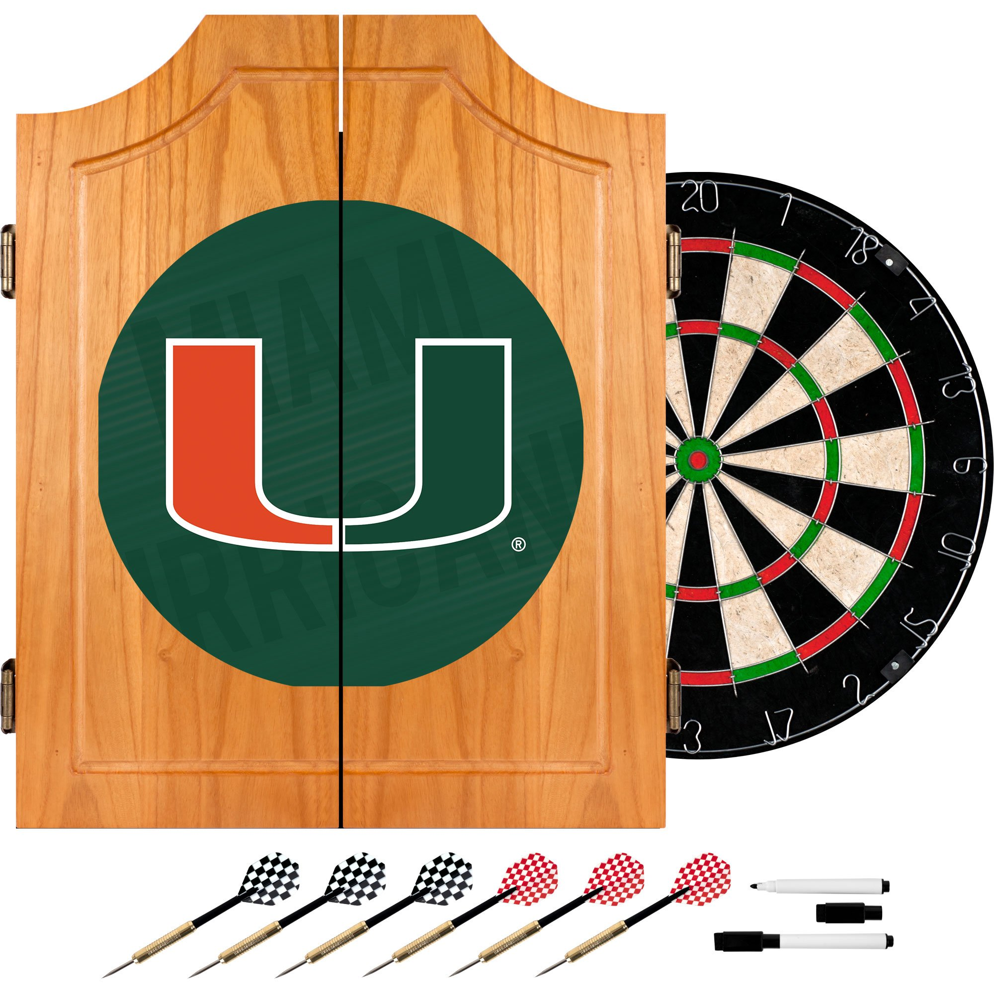 Trademark Gameroom University of Miami Wood Dart Cabinet Set - Wordmark by Trademark Gameroom