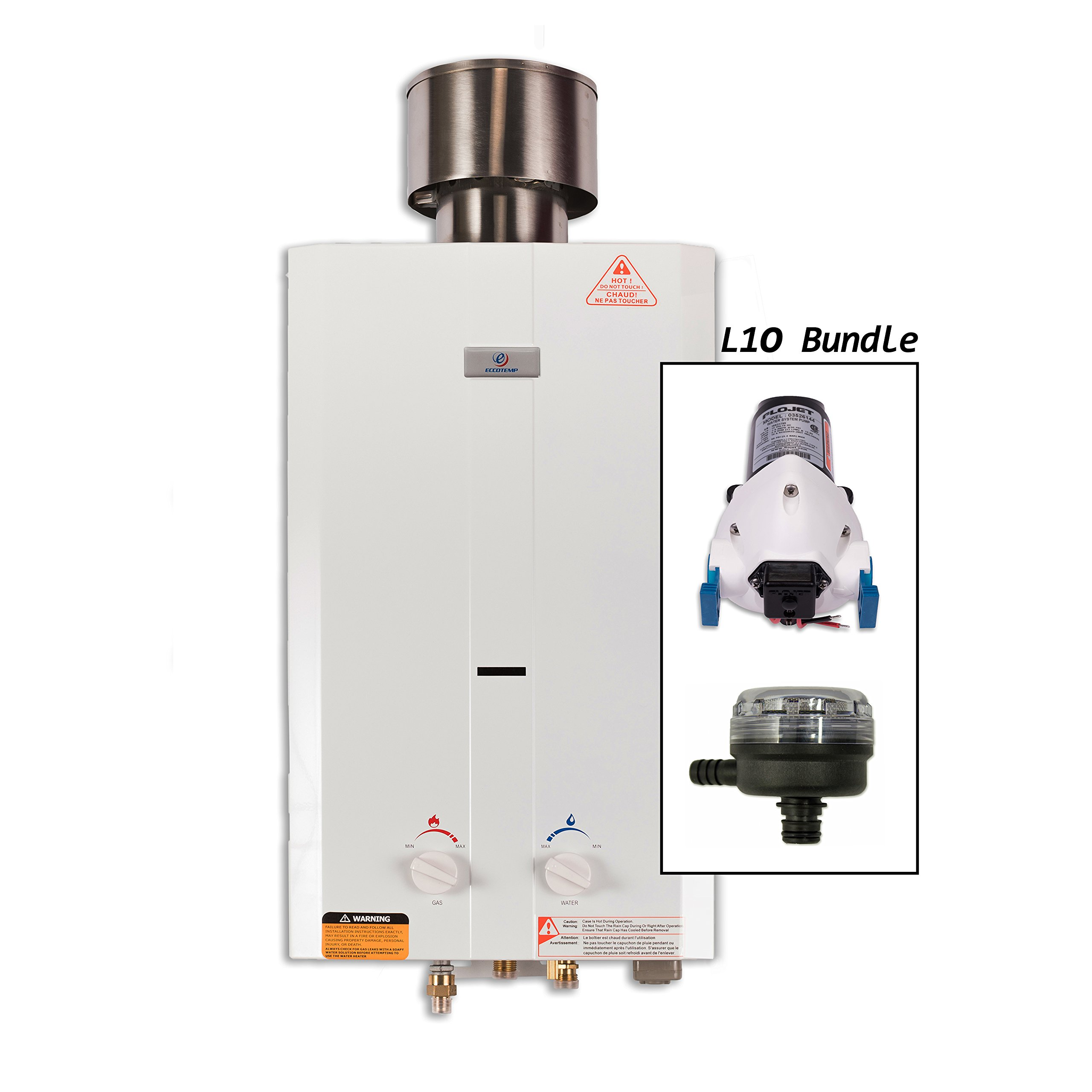 Eccotemp L10 Portable Tankless Water Heater w/ Flojet Pump, Strainer & Shower set by Eccotemp