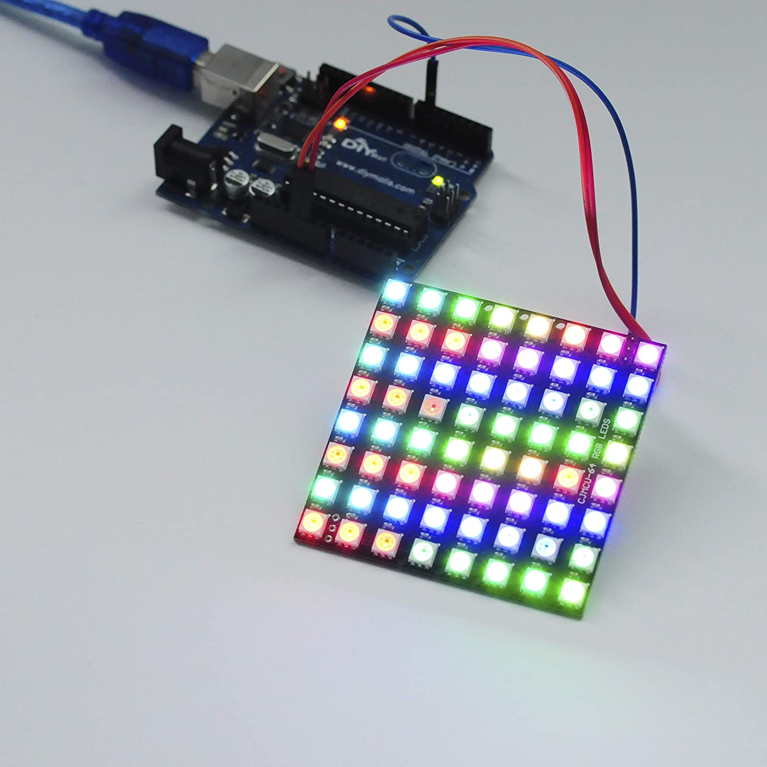 64 LED Matrix WS2812 LED 8x8 5050 RGB Full-Color Driver Board For Arduino New