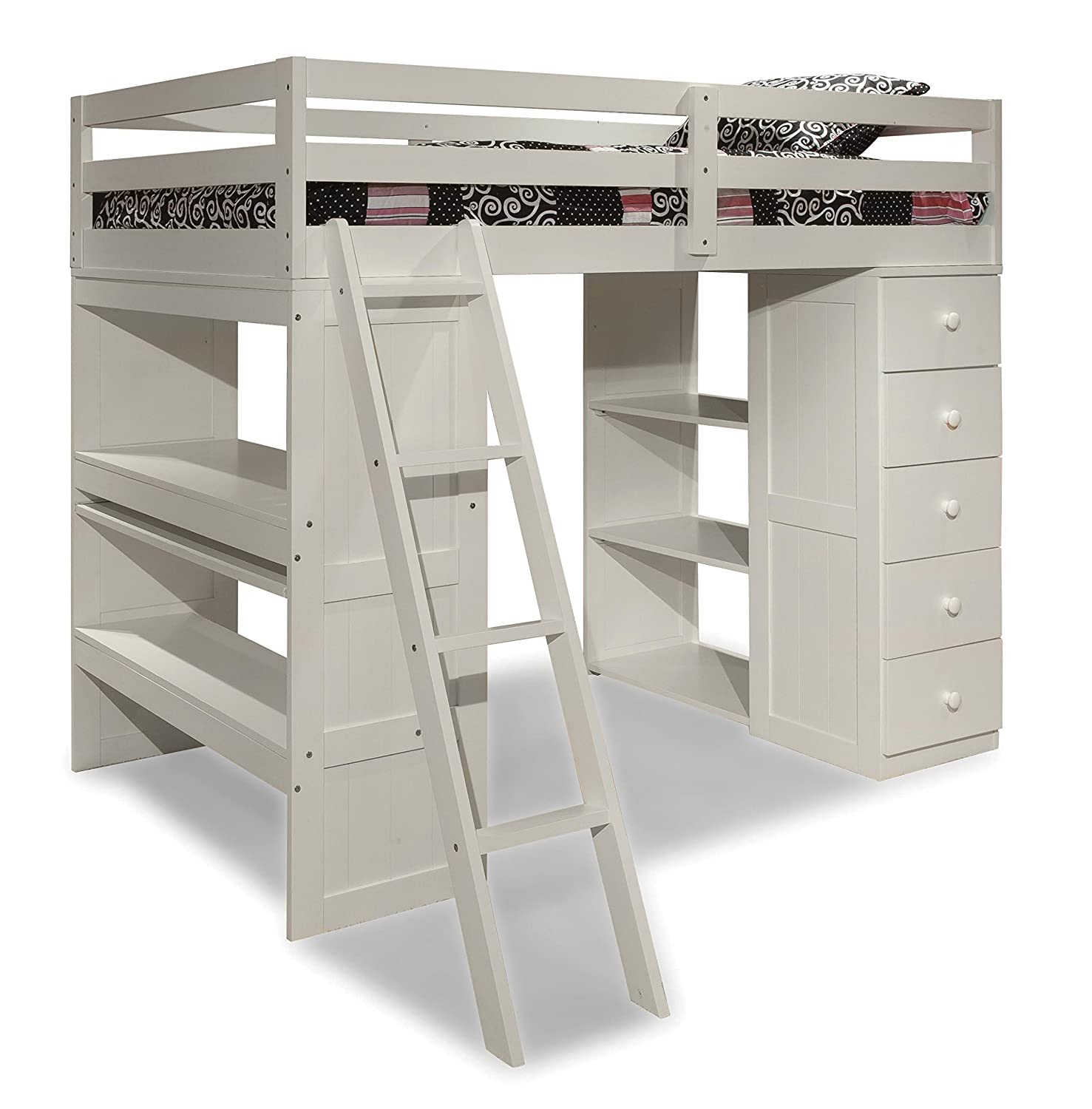 Amazon.com: Canwood Skyway Loft Bed With Desk And Storage Tower, Twin, White:  Baby