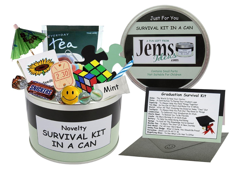 Black//Mint lingua italiana non garantita Approx 10cm x 6cm Kit di sopravvivenza Survival kit in a can per laurea o diploma Simpatica idea regalo con bigliettino -