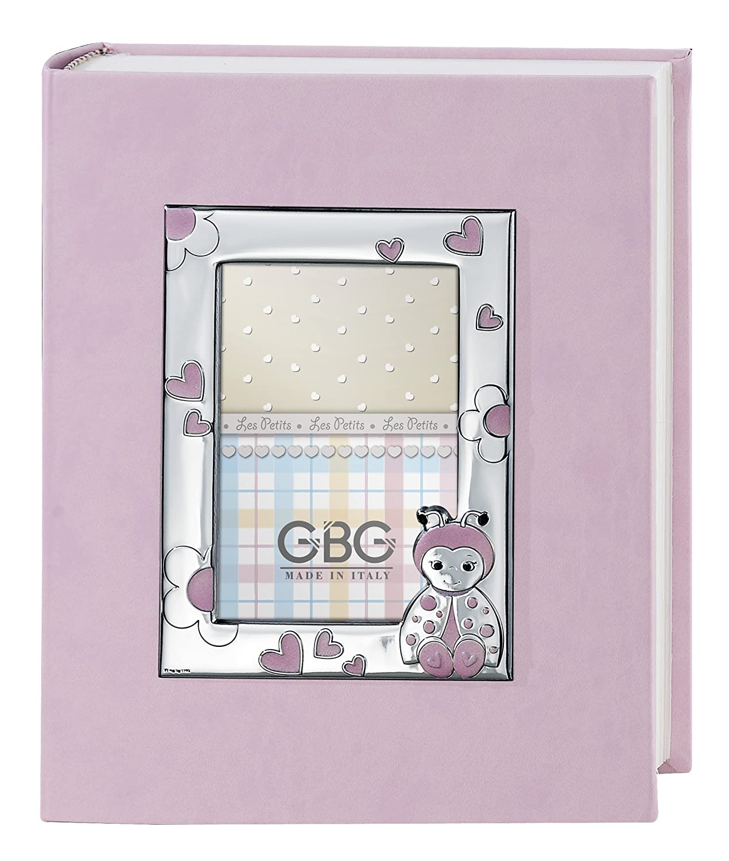 Fotoalbum und Tagebuch mit Rahmen cm 9 x 13 Marienkäfer Pink Album cm 20 x 25 Bi Laminat Silber Made in Italy frisch