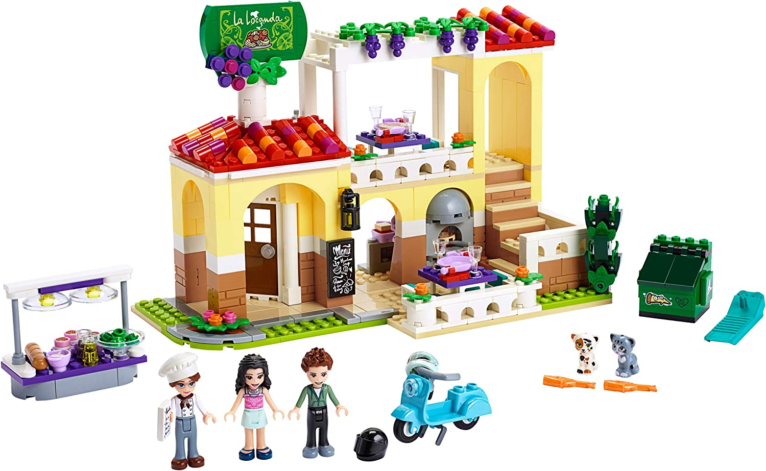 LEGO Friends Heartlake City Restaurant 41379 Restaurant Playset with Mini Dolls and Toy Scooter for Pretend Play, Cool Building Kit Includes Toy Kitchen, Pizza Oven and More (624 Pieces)
