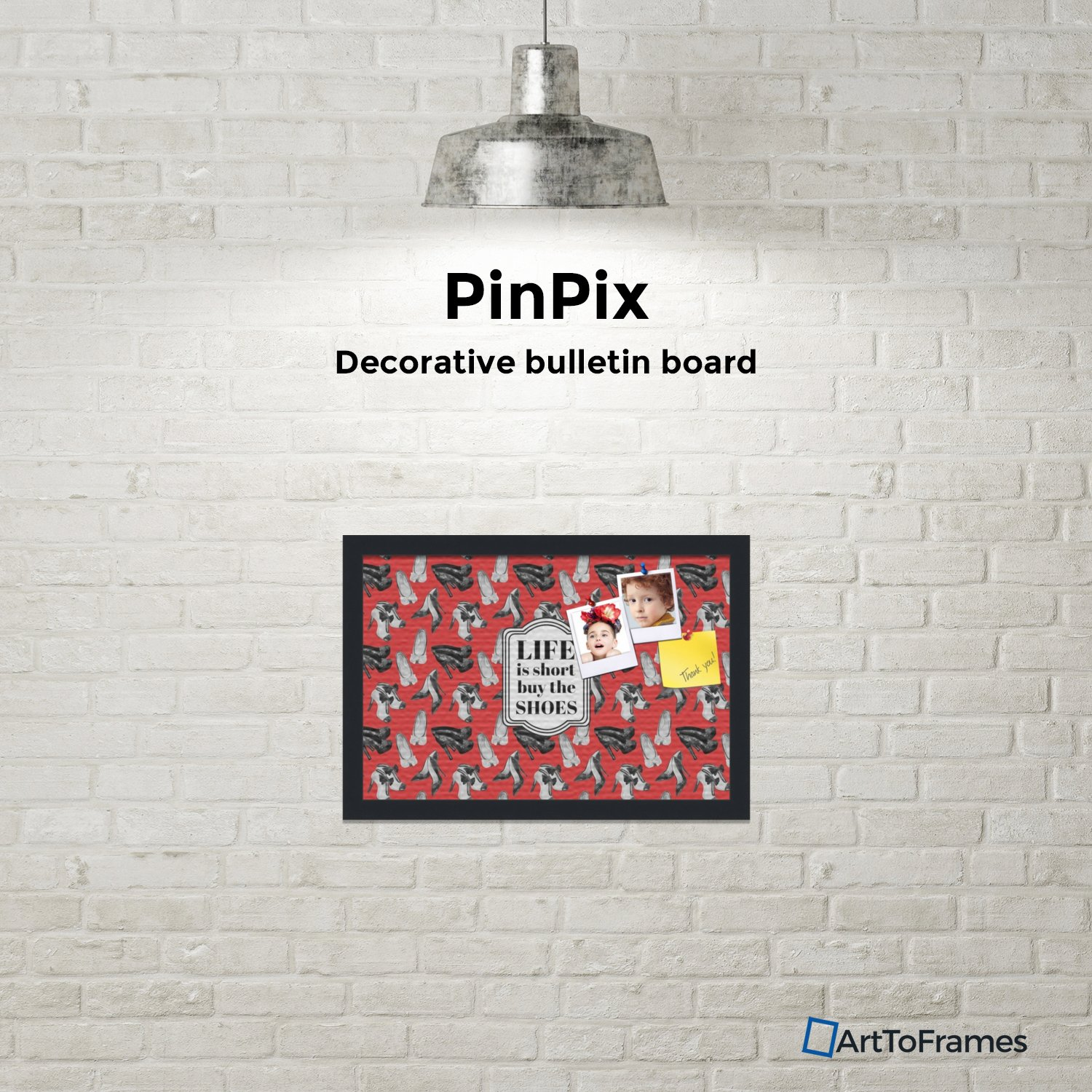 PinPix custom printed pin cork bulletin board made from canvas, Buy The Shoes 18x12 Inches (Completed Size) and framed in Satin Black (PinPix-Group-55) by PinPix (Image #3)