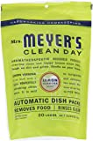 MRS MEYERS Automatic Dish Packs, Lemon Verbena, 20 Count (Pack of 3)