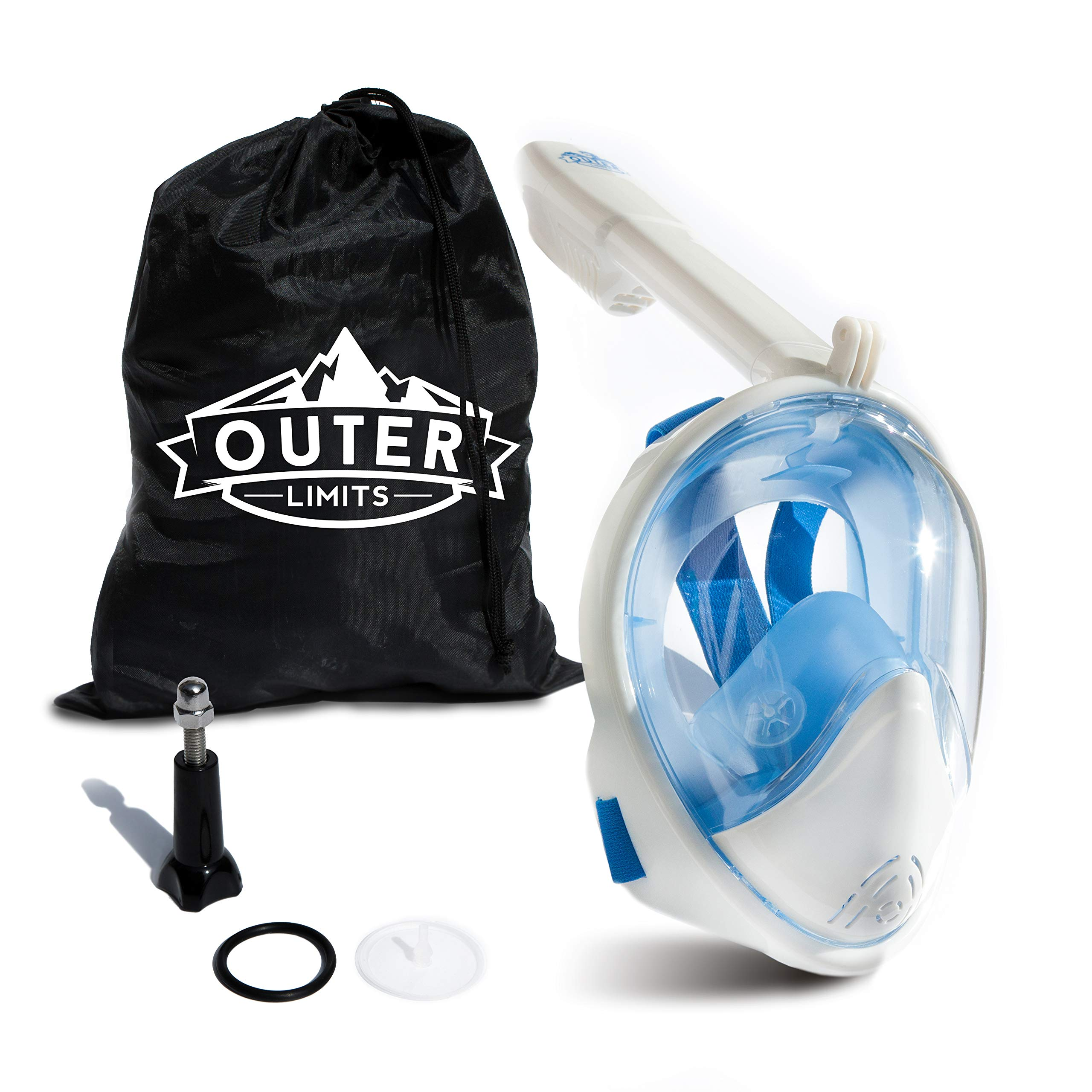 Outer Limits Full Face Snorkel Mask Adult - Scuba Mask - 180° Panoramic View - New 2019 Bubble Design with a Longer Snorkel - Snorkeling Gear -Mask and Snorkel Sets Adult- Snorkle Mask by Outer Limits