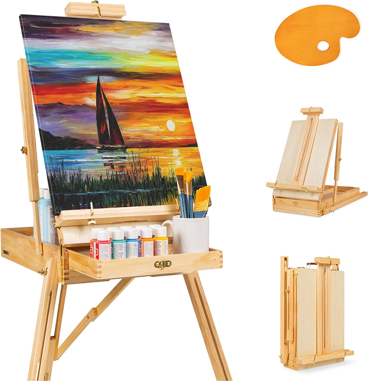 Best Choice Products Portable Wooden Folding French Easel Adjustable Sketch Box Artist Tripod For Painting Drawing Sketching W Drawer Pallet Handle Natural Arts Crafts Sewing