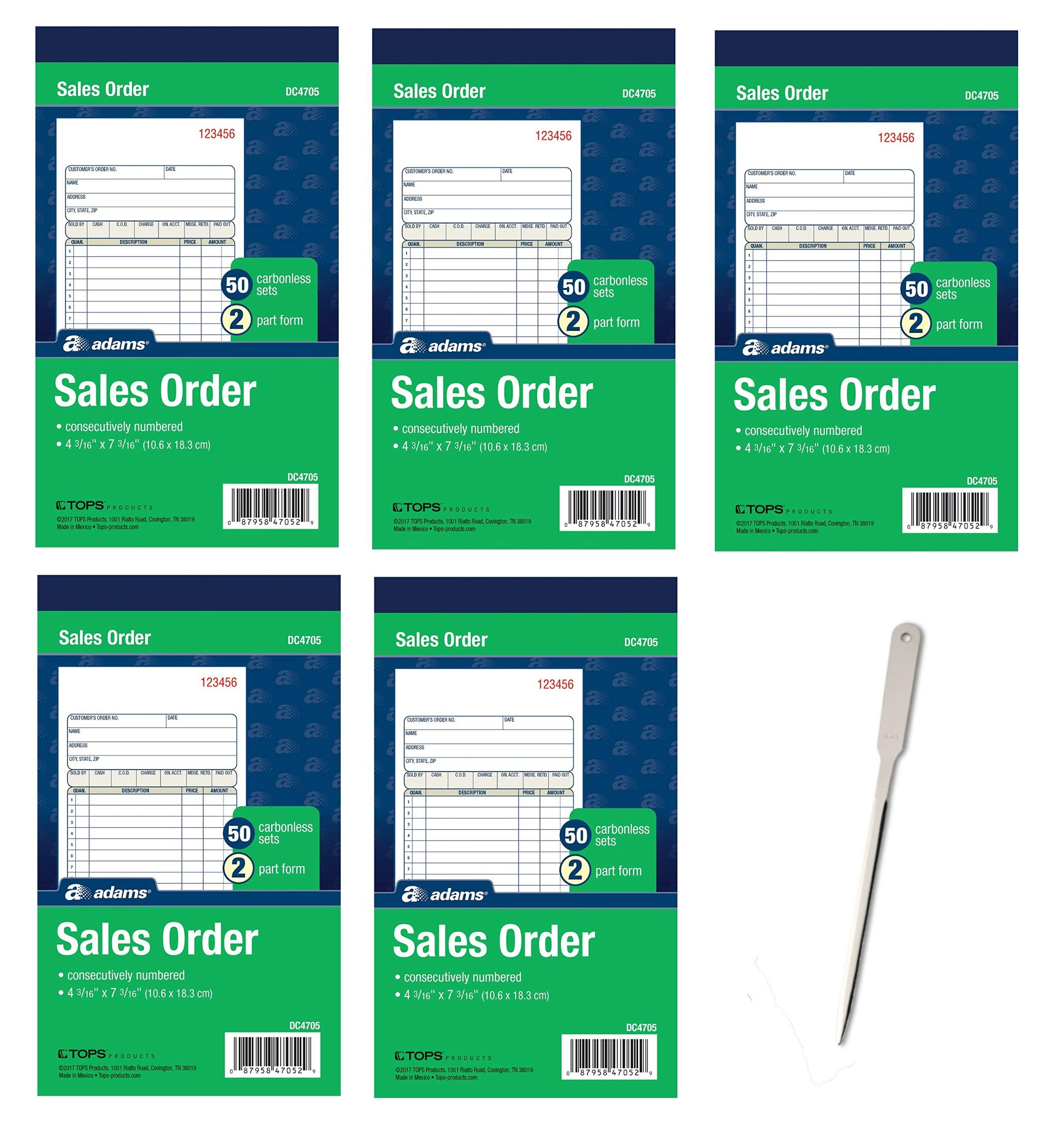Adams Sales Order Book, 2-Part, Carbonless, White/Canary, 4-3/16 x 7-3/16 inches, 50 Sets per Book, 5 Books, 250 Sets Total (DC4705) - Bundle Includes Universal Letter Opener