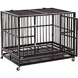 SUNCOO Double Door Metal Dog Crate Heavy Duty Strong Steel Pet Kennel Cage Playpen w/Tray Castor