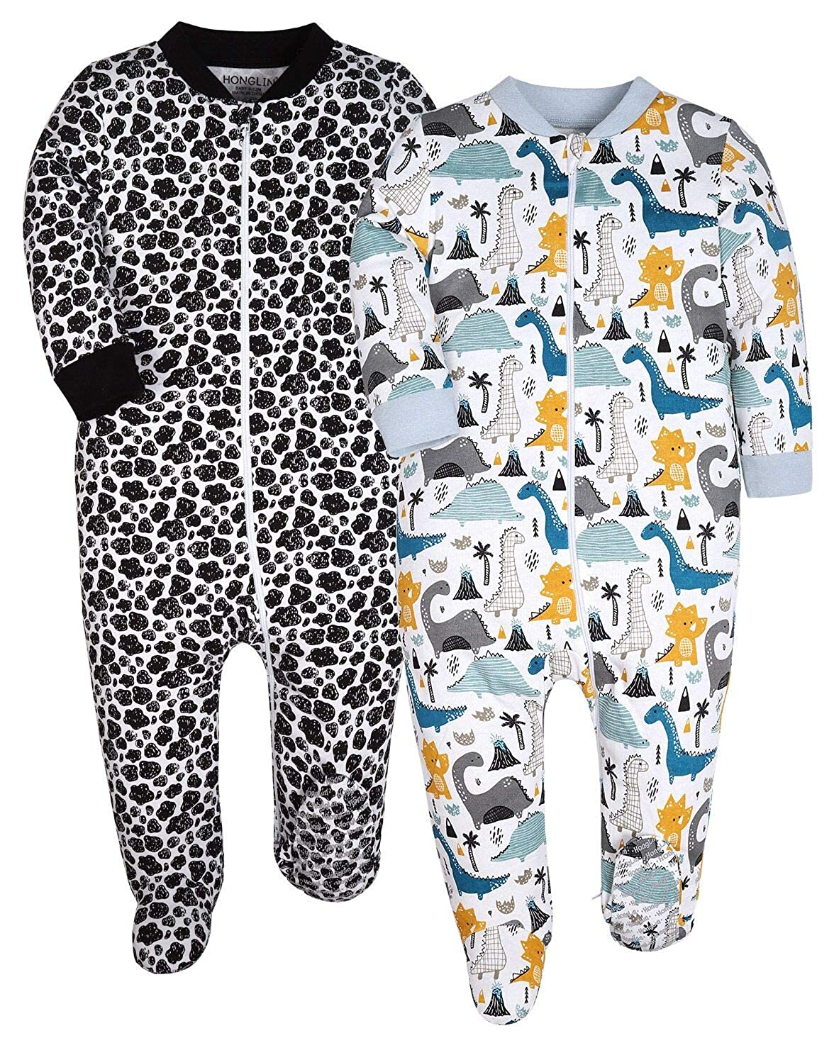YXD Cute Baby Boys 2-Pack Footed Pajamas Toddler Sleepsuit Cotton Zipper Sleepers Infant Pjs Jumpsuit Sleepwear Clothes
