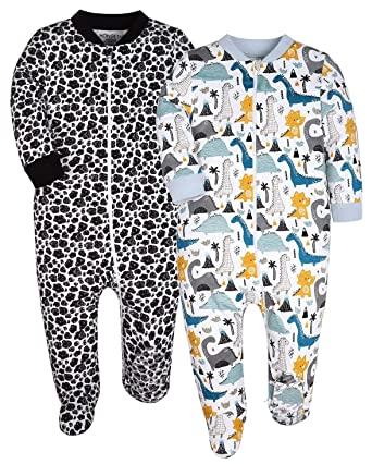 76ffd80f0e YXD Baby Boys Dinosaur Pattern 2-Pack Zipper Footed Pajamas Cotton Sleepers  Infant Pjs Anti