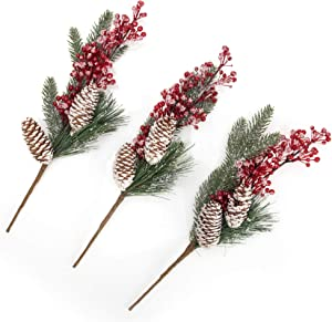 "blitzlabs 3 Pcs 13.7"" Christmas Picks Artificial Holly Red Berry Pine Cone Branches Stem Pine Snowy Picks Decoration for Christmas Floral Crafts Party Festive Home Decor"