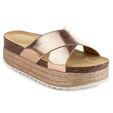 9a9a7ad6d Women s Espadrille Platform Slide Sandals Slip On Flat Summer Beach Casual  Shoes GG10 (5.5