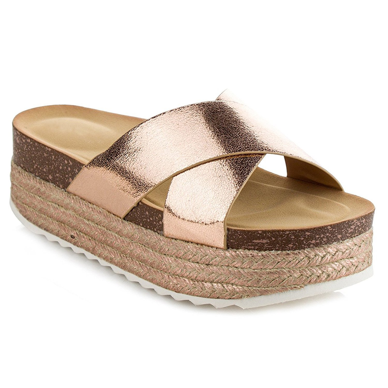 Women's Espadrille Platform Slide Sandals Fashion Criss Cross Slip On Flat Summer Beach Casual Shoes GG10 Rose Gold 8.5