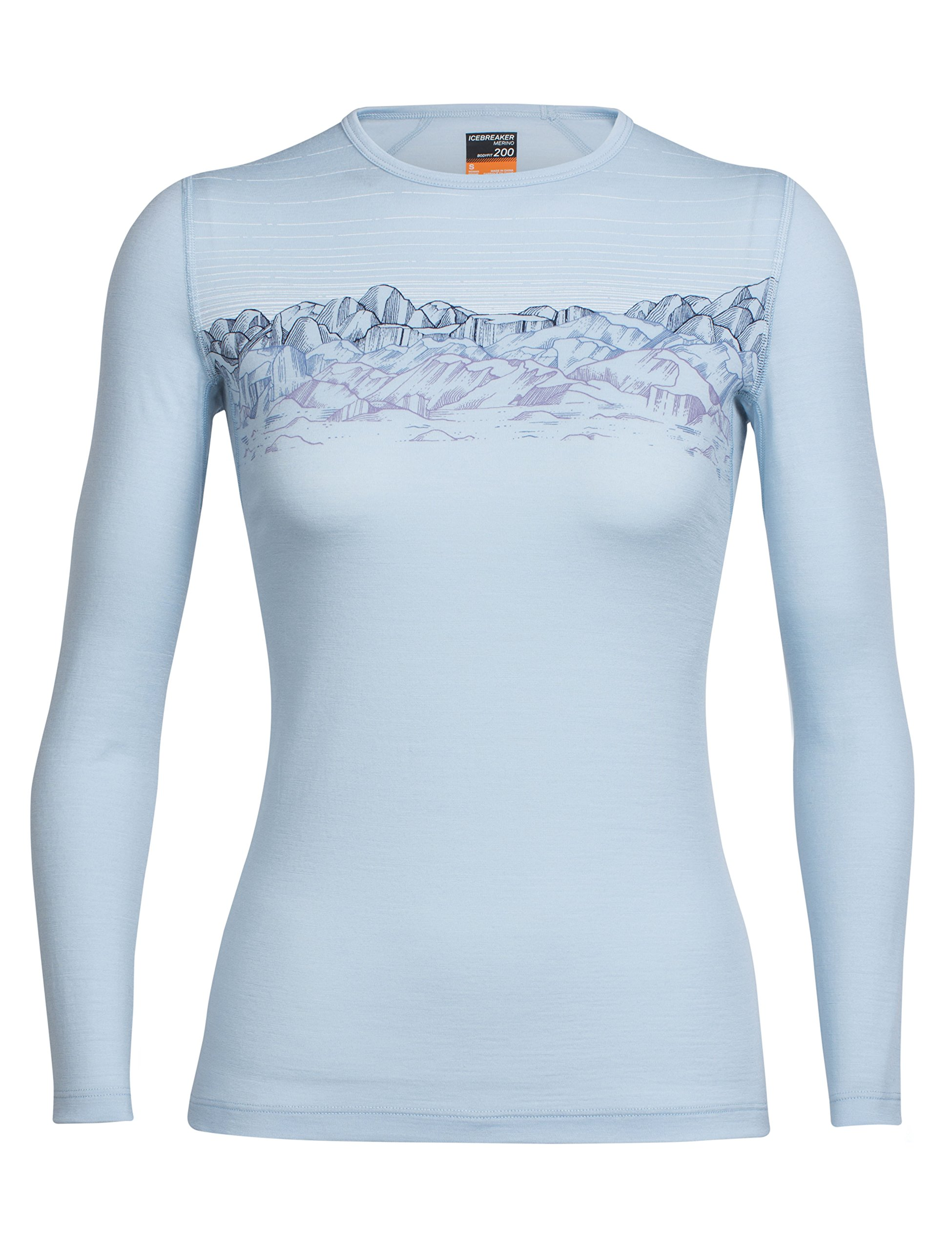 Icebreaker Merino Women's Oasis Long Sleeve Crewe, Sunset Sky - Ice Blue, X-small