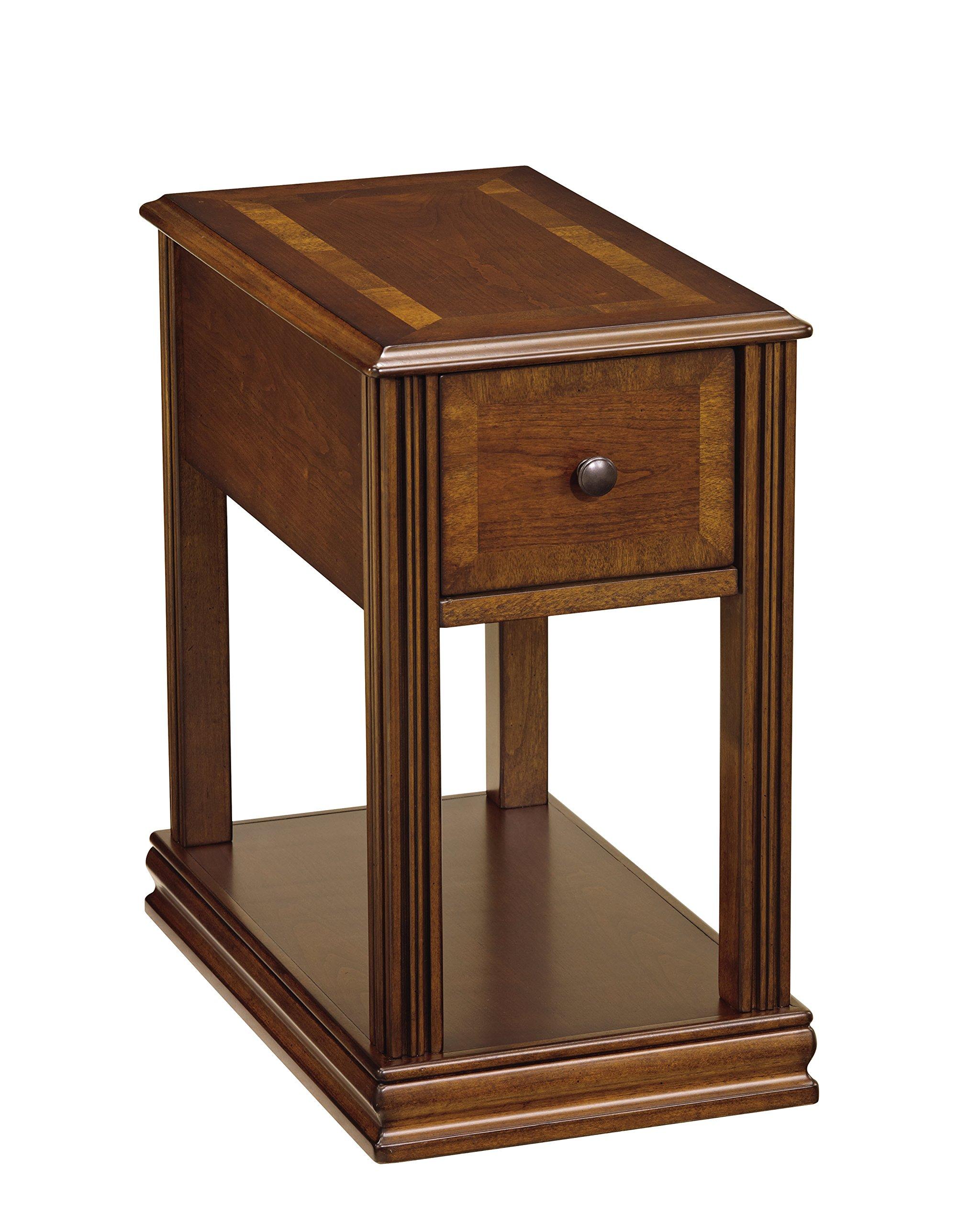 Ashley Furniture Signature Design - Breegin Contemporary Chair Side End Table - Rectangular - Brown Finish