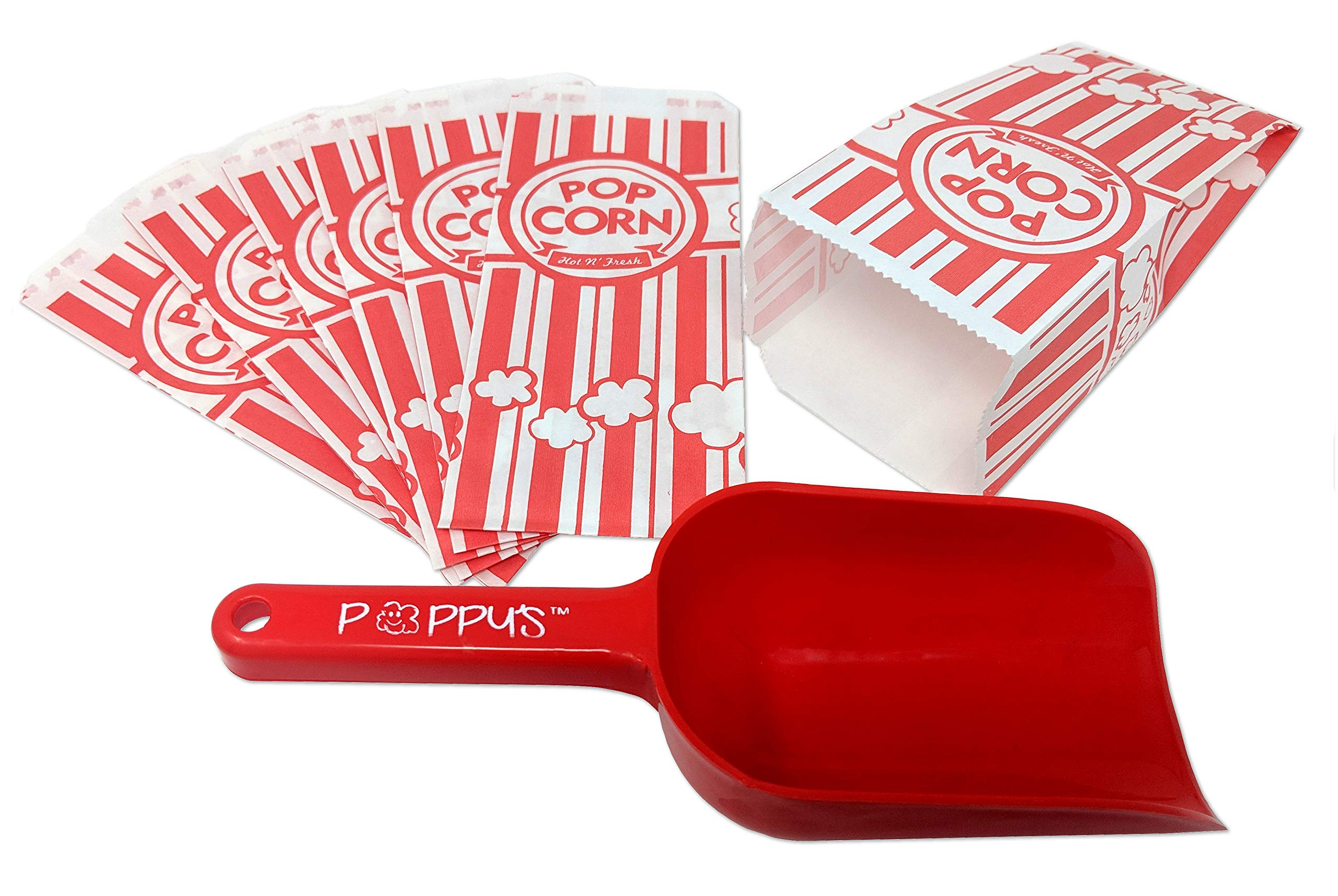 Poppy's Carnival Style Popcorn Bags and Popcorn Scoop Bundle - Poppy's Scoop and 200 1 oz Paper Carnival Style Popcorn Bags