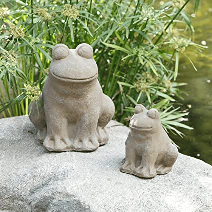 Frog Statue, Yard Art Garden Stone Statues Outdoor Decor (Medium)