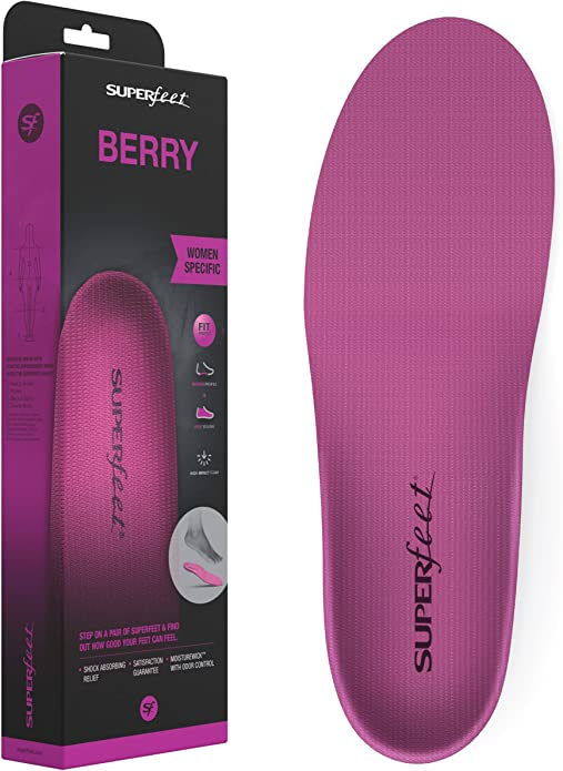 Superfeet BERRY Women's Comfort High Arch Support and Forefoot Cushion