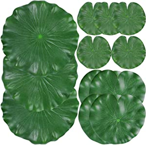 12 Pieces Realistic Lily Pads Leaves, Artificial Floating Foam Lotus Leaves, Water Lily Pads Artificial Foliage Pond Decor for Pond Pool Aquarium Decoration