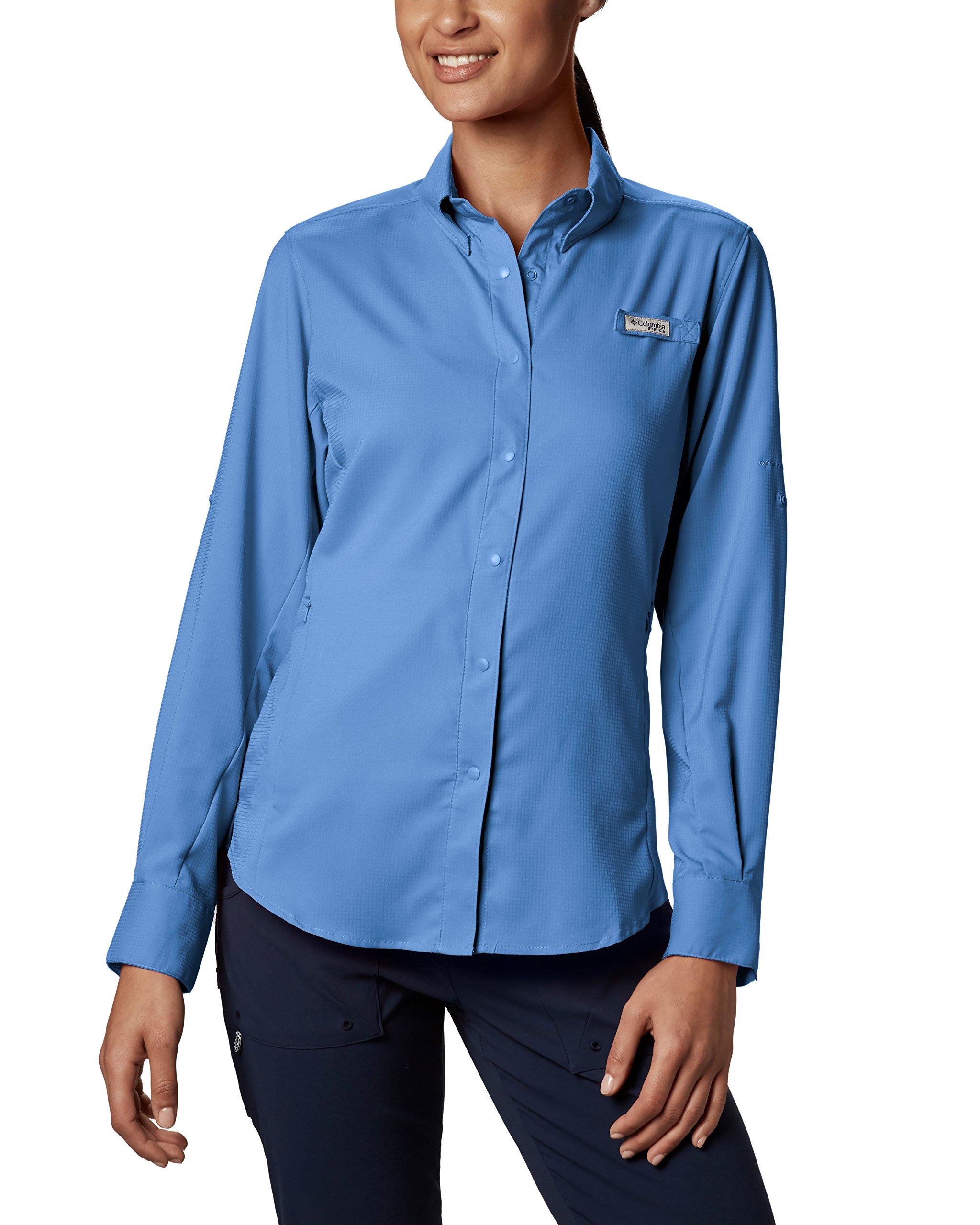 Columbia Women's Tamiami II Long Sleeve Shirt, White Cap(blue), Medium