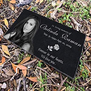 12x6 inches Personalized Human Memorial Stones, Black Granite Memorial Garden Stone Engraved with Human's Photo, Gifts for Someone Who Lost a Loved One, or Pet, Dog, Cat…