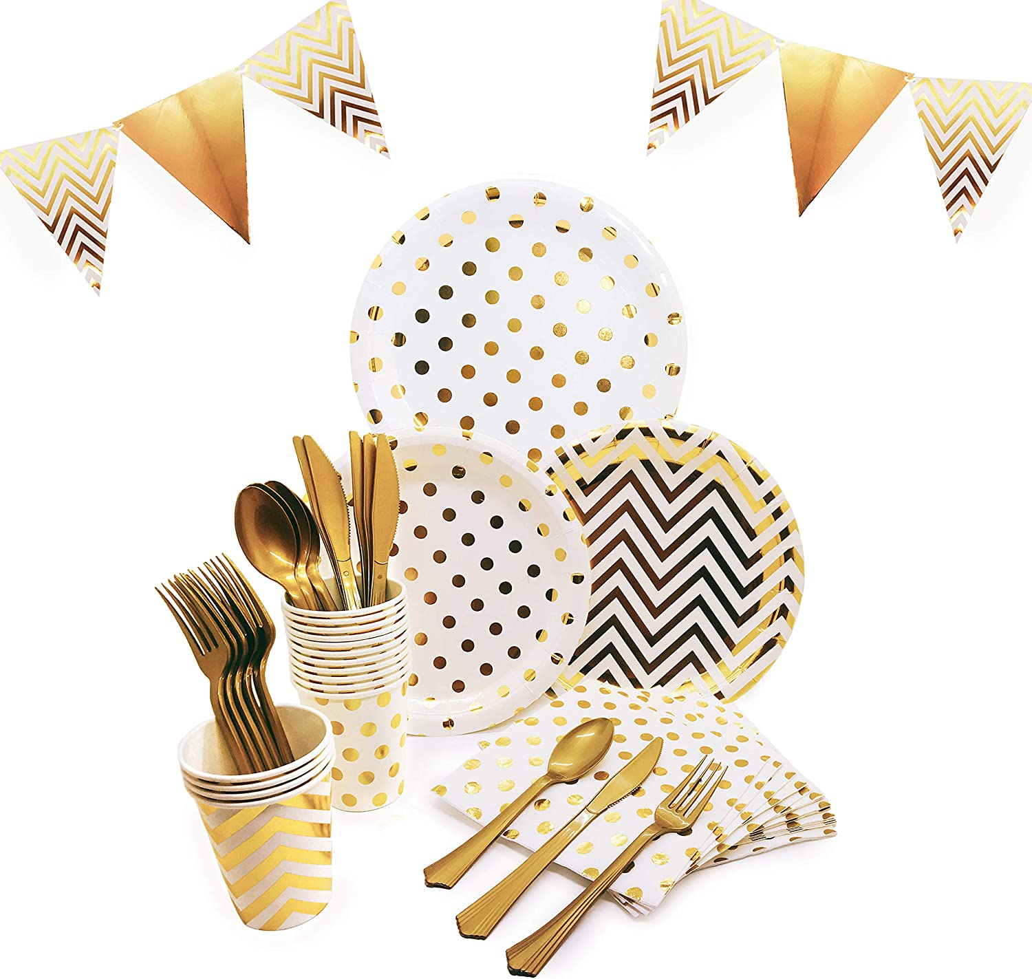 145 Piece Gold Party Supplies Set   Disposable Dinnerware Set   Polka Dot and Chevron Styles   Services 24 with Gold Cutlery Includes Plastic Knives, Spoons, Forks, Paper Plates, Napkins, Cups, Banner