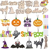 Halloween Wooden Slices DIY Arts & Crafts Kit; Blank Cutouts Ornaments Make Your Own Gift Tags Decorations for Kids Homeschoo