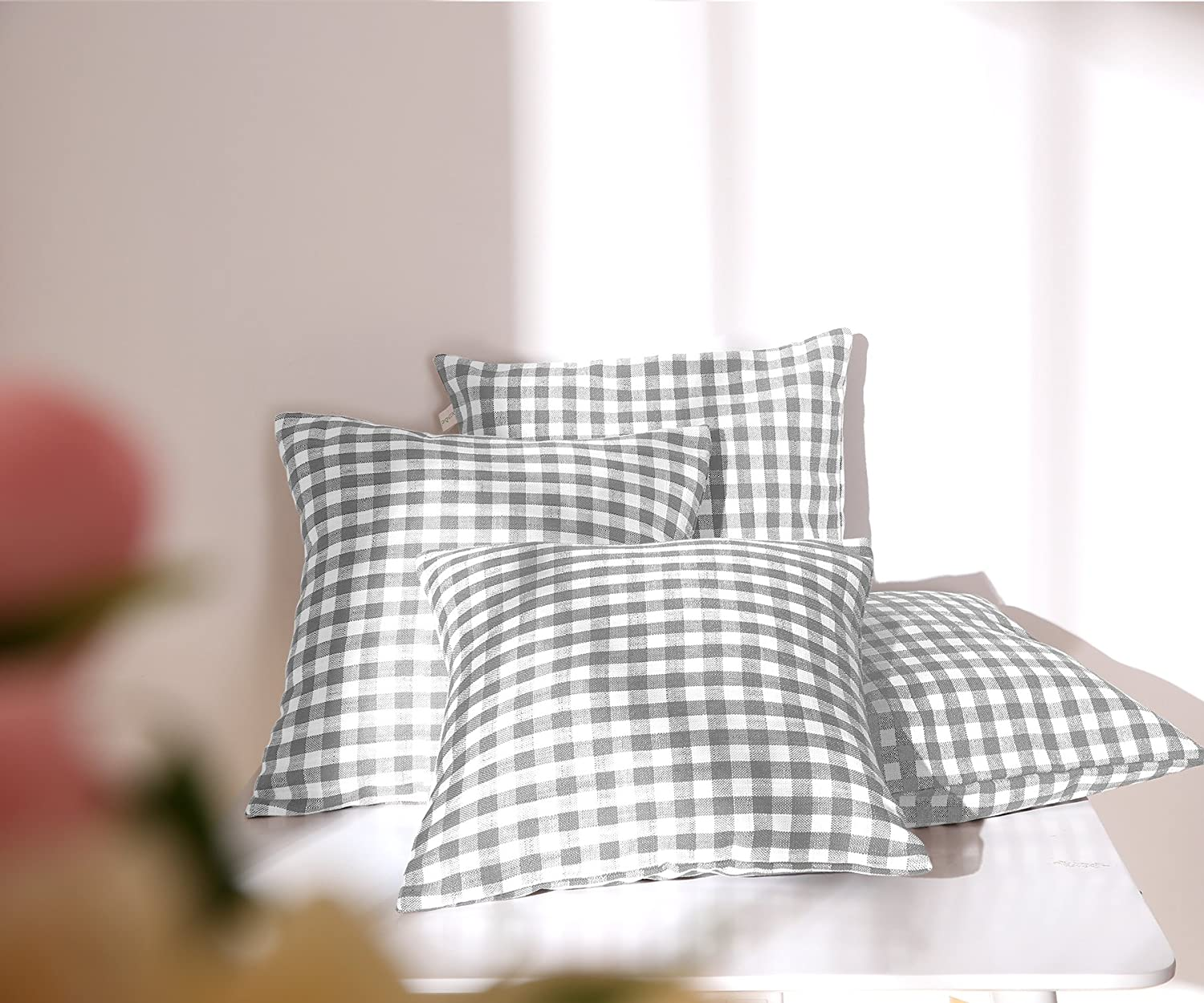 Deconovo Throw Home Decorative Grid Squares Faux Linen Plaid Cushion Shams Handmand Checkered Pillow Covers with Invisible Zipper, 18x18 Inch, Light Grey and White,4 Pcs