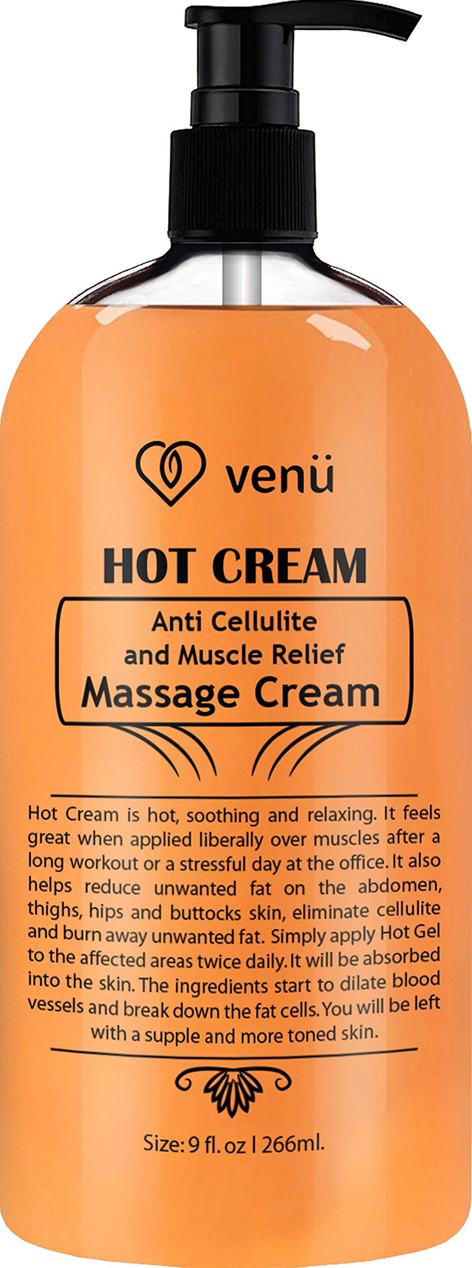 Hot Cream Anti Cellulite and Muscle Relief Cream, Muscle Rub and Muscle Massager Gel, Muscle Relaxant & Pain Relief Cream, Firms Skin, Fat to Flat, Treatment - Tightens Skin, Soothes, Relaxes, 9OZ