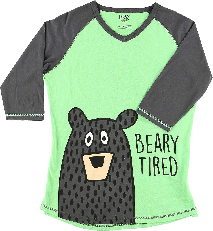 LazyOne Womens Beary Tired PJ Tall T Shirt Adult