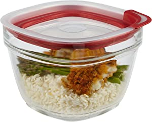 Rubbermaid Easy Find Lids Glass Food Storage Container, 5.5 Cup, Racer Red 2856005