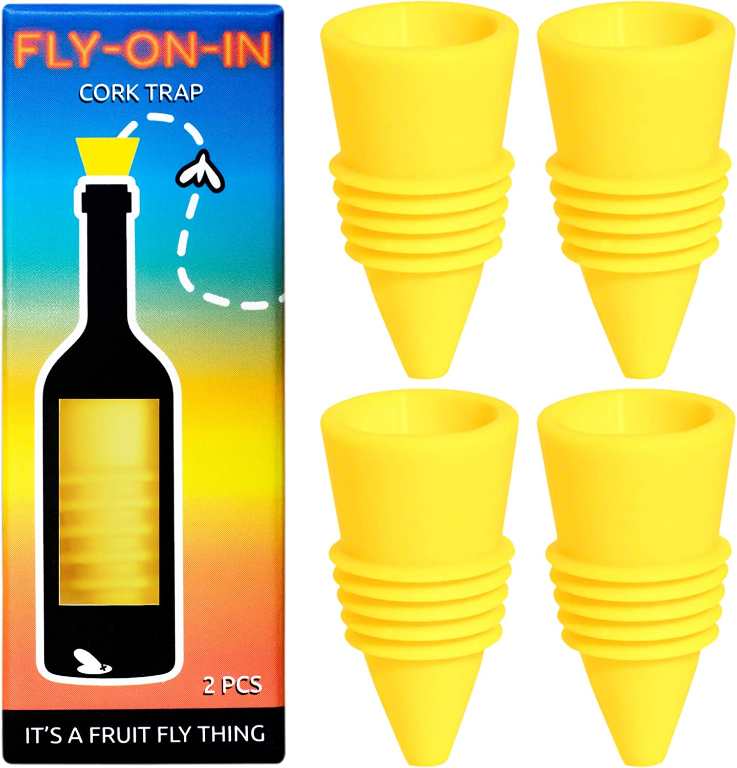 Fly On In, Fruit Fly Bottle Top Trap – Reusable Non-Toxic Indoor/Outdoor Catcher 2 Pack (Yellow, 4 pcs)