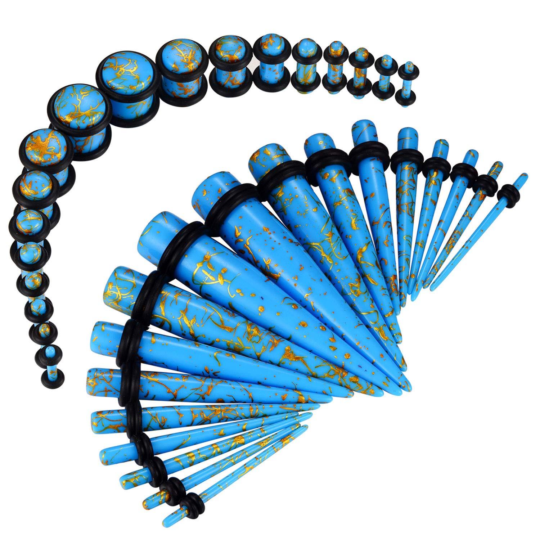 BodyJ4You 36PC Gauges Kit Goldtone Paint Aqua Acrylic Taper Plug 14G-00G Ear Stretch Body Piercing by BodyJ4You
