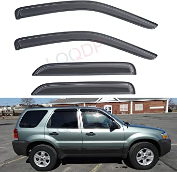 Custom Fit For 2001-2012 Ford Escape 2005-2011 Mercury Mariner Side Window Sun Rain Guard With Outside Mount Tape-On Type 2008-2011 Mazda Tribute DEAL 4-Piece Set Vent Smoke Window Visor