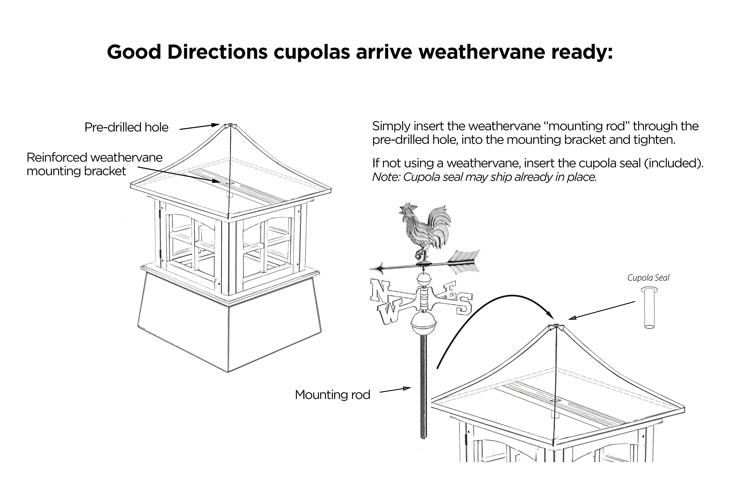 Good Directions Westport Vinyl Cupola with Copper Roof, 26'' x 42'' by Good Directions (Image #6)