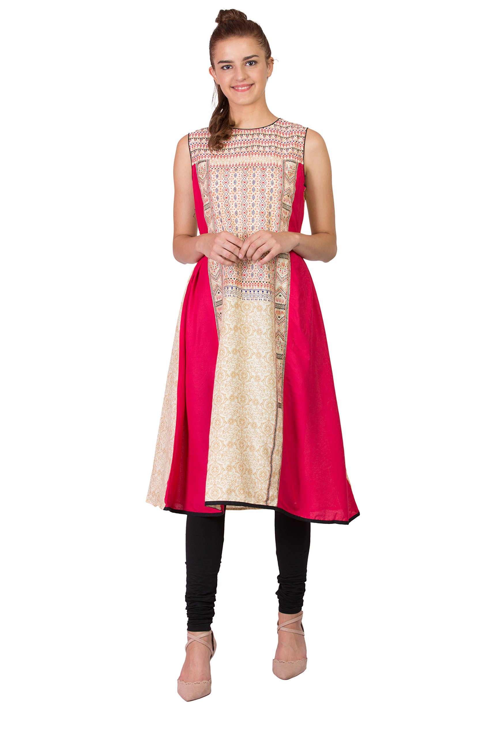 SABHYATA Women Kurta Designer Ethnic Long Dress Casual Tunic Kurti for Women Ladies Partywear Material 100% Pure Rayon Neck Type Round Neck Medium Beige